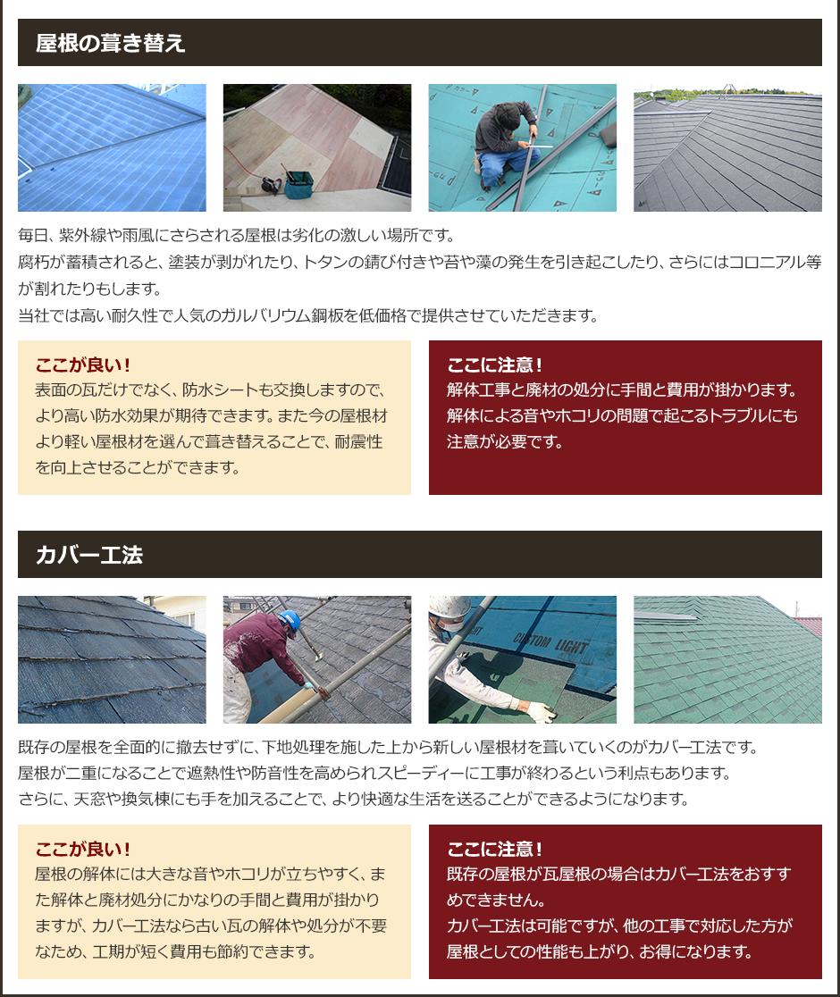葺き替えとカバー工法の比較